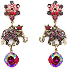 Elephant and Flower Earrings  | Nature Jewelry