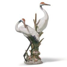 Courting Cranes Porcelain Figurine
