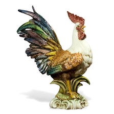 Colored Rooster Ceramic Sculpture