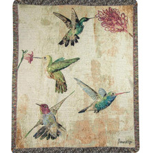 Hummingbird Floral Tapestry Throw Blanket