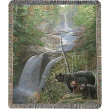Bear and Cubs Tapestry Throw Blanket