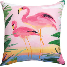 Flamingo Garden Indoor/Outdoor Pillow