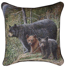 Bear and Cubs Autumn Mist Tapestry Pillow
