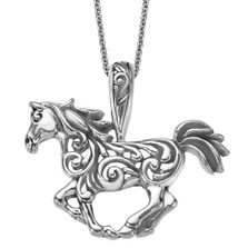 Horse Scroll Pendant Sterling Silver Necklace | Nature Jewelry