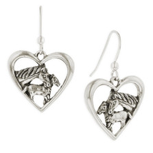 Horse Heart Sterling Silver Wire Earrings | Nature Jewelry
