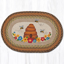 Bee and Hive Oval Braided Rug