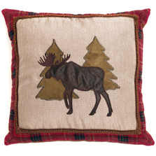 Moose and Trees Applique Throw Pillow