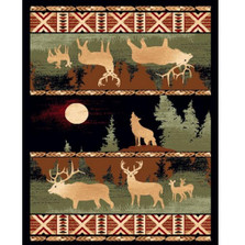 Howling Wolf and Elk Lodge Area Rug
