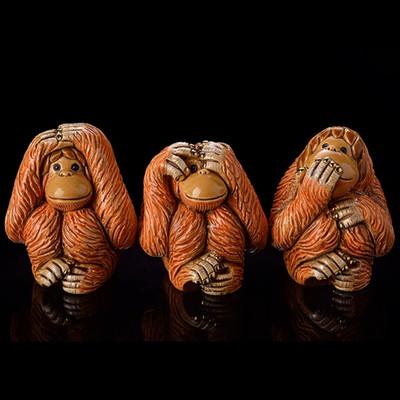 Orangutan Ceramic Figurine Set of 3 | Rinconada