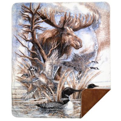 Moose Micro Plush Throw Blanket