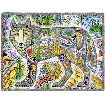 Wolf Tapestry Throw Blanket