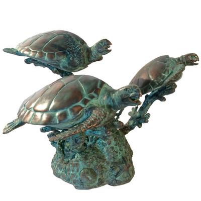 Sea Turtles Bronze Fountain Statue