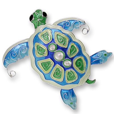 Sea Turtle Enameled Silver Plated Pearly Pin | Nature Jewelry