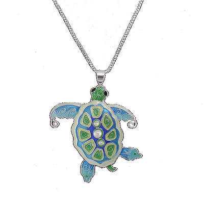 Sea Turtle Enameled Silver Plated Pearly Necklace | Nature Jewelry