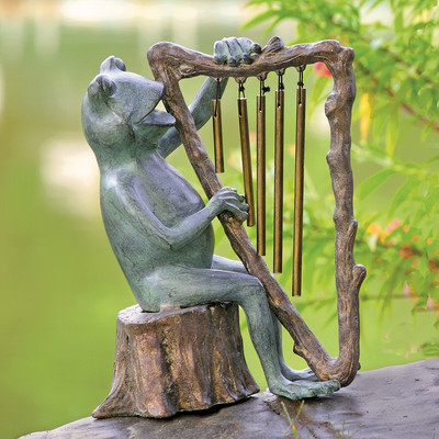 Frog and Harp Wind Chime Garden Sculpture | 34538
