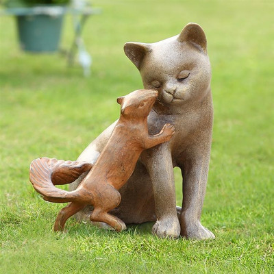 "Cat & Squirrel Garden Sculpture ""Stealing a Kiss"" 