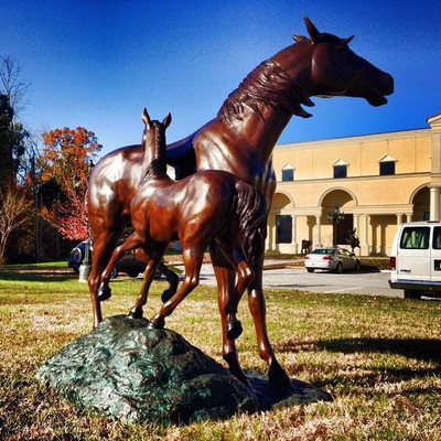 Horse and Colt Bronze Statue