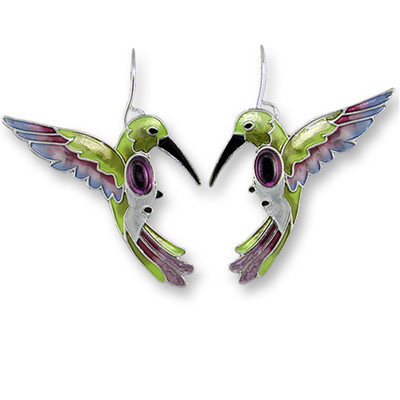 Hummingbird Enameled Wire Earrings | Nature Jewelry