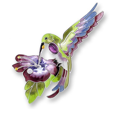 Hummingbird Enameled Silver Plated Pin| Nature Jewelry