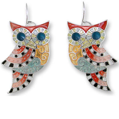 Owl Enameled Silver Plated Wire Earrings | Nature Jewelry