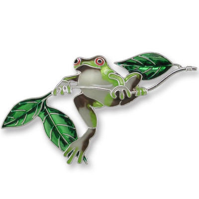 Frog Enameled Silver Plated Pin | Nature Jewelry