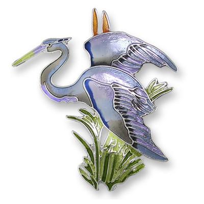 Great Blue Heron Enameled Silver Plated Pin| Zarah Jewelry | 21-38-Z2
