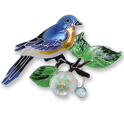 Bluebird and Dogwood Enameled Silver Plated Pin | Nature Jewelry