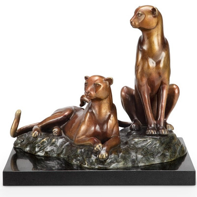 "Cheetah Brass and Marble Sculpture ""Alert"" 