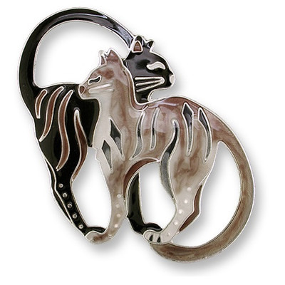 Cat Pair Enameled Silver Plated Pin | Nature Jewelry