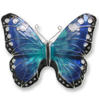 Blue Morpho Butterfly Enameled Silver Plated Pin | Nature Jewelry