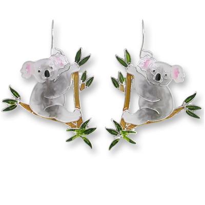 Koala Bear Enameled Wire Earrings   Nature Jewelry