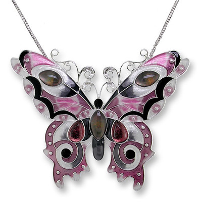 Butterfly Enameled Silver Plated Necklace | Nature Jewelry