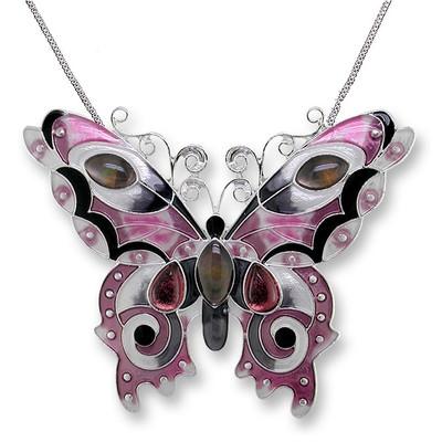 Butterfly Enamel Silver Plated Pendant Necklace |  Garnet | Zarah Jewelry | 07-15-Z2P