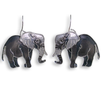 Gray Elephant Enameled Wire Earrings | Nature Jewelry