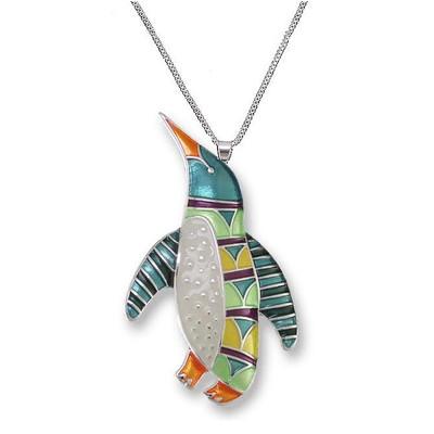 Penguin Enameled Silver Plated Necklace | Zarah Jewelry | 20-08-Z2P
