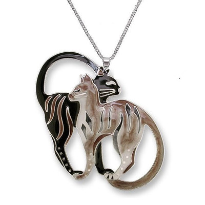 Cat Pair Enameled Silver Plated Necklace | Nature Jewelry