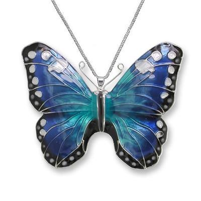 Blue Morpho Butterfly Enameled Silver Plated Necklace | Zarah Jewelry  29-05-Z2P