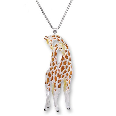 Giraffe Enameled Silver Plated Necklace | Nature Jewelry