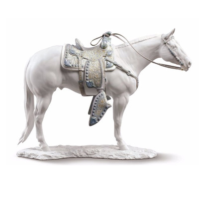 White Quarter Horse Porcelain Figurine