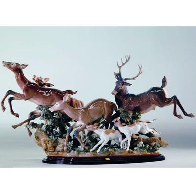 Pursued Deer Porcelain Figurine