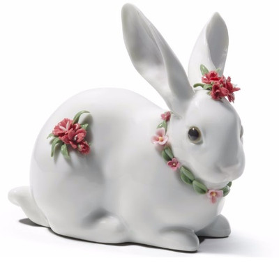 Attentive Bunny With Carnations Porcelain Figurine