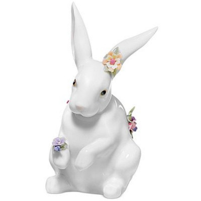 Sitting Bunny With Flowers Porcelain Figurine