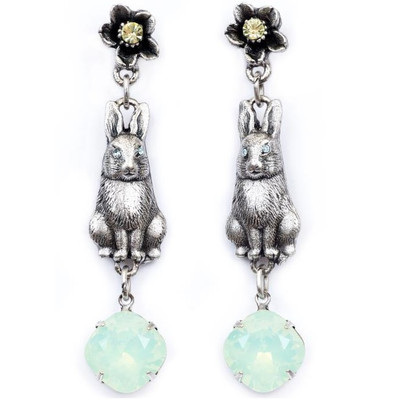 Bunny and Flower Dangle Earrings | Nature Jewelry