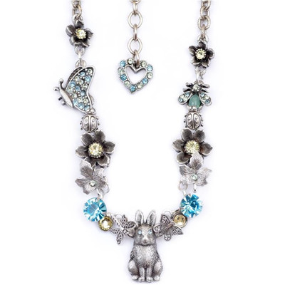 Quick Shop Bunny And Butterflies Necklace Nature Jewelry