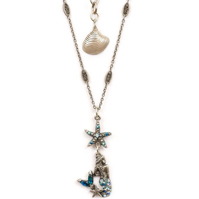 Mermaid and Starfish Pendant Necklace | Nature Jewelry