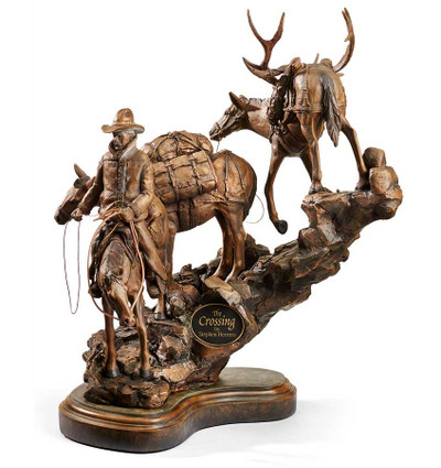 "Cowboy and Pack Horse Sculpture ""The Crossing"""