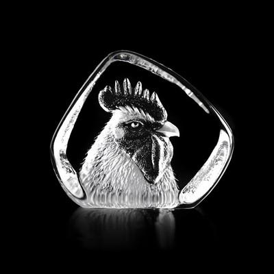 Rooster Head Crystal Sculpture   34234   Mats Jonasson Maleras