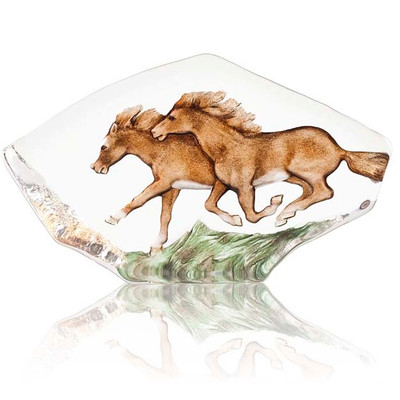 Horses Running Crystal Sculpture | 34085