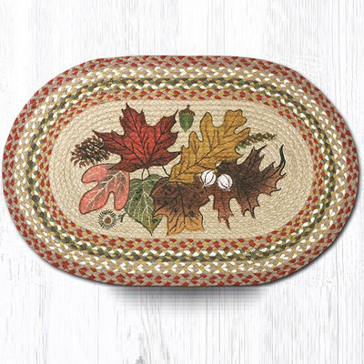 Autumn Leaves Oval Braided Rug