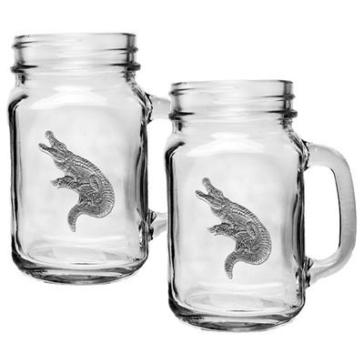 Alligator Mason Jar Mug Set of 2